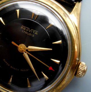 Schöne Schwarze Provita Uhr - Handaufzug - Mechanisch Bild