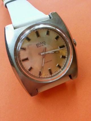 Vintage Bwc Handaufzug Uhr / Edelstahlgehäuse Bild