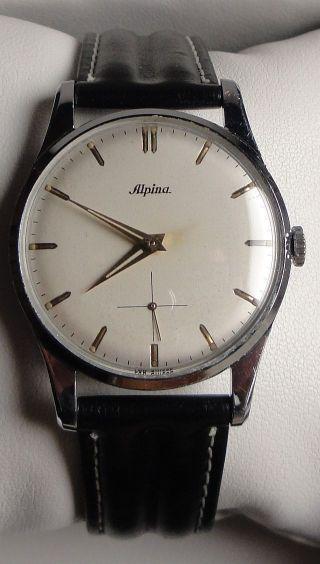 Vintage Armbanduhr Alpina Cal.  592 – Ca.  1950 – Einfach Ablesbares Zifferblatt Bild