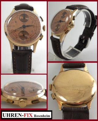 Vintage Chronographe Suisse,  Handaufzug Bj.  1950,  18 Karat / 750er Goldgehäuse Bild