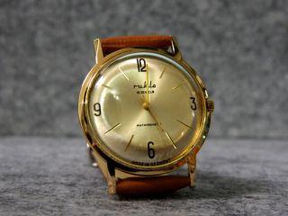 Herrenuhr Ruhla Vintage 70er Handaufzug 15 Jewels Sehr Schöner Ddr Bild