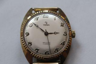 Vergoldete Yema Antichoc 17 Jewels Herrenarmbanduhr Mit Handaufzug Bild