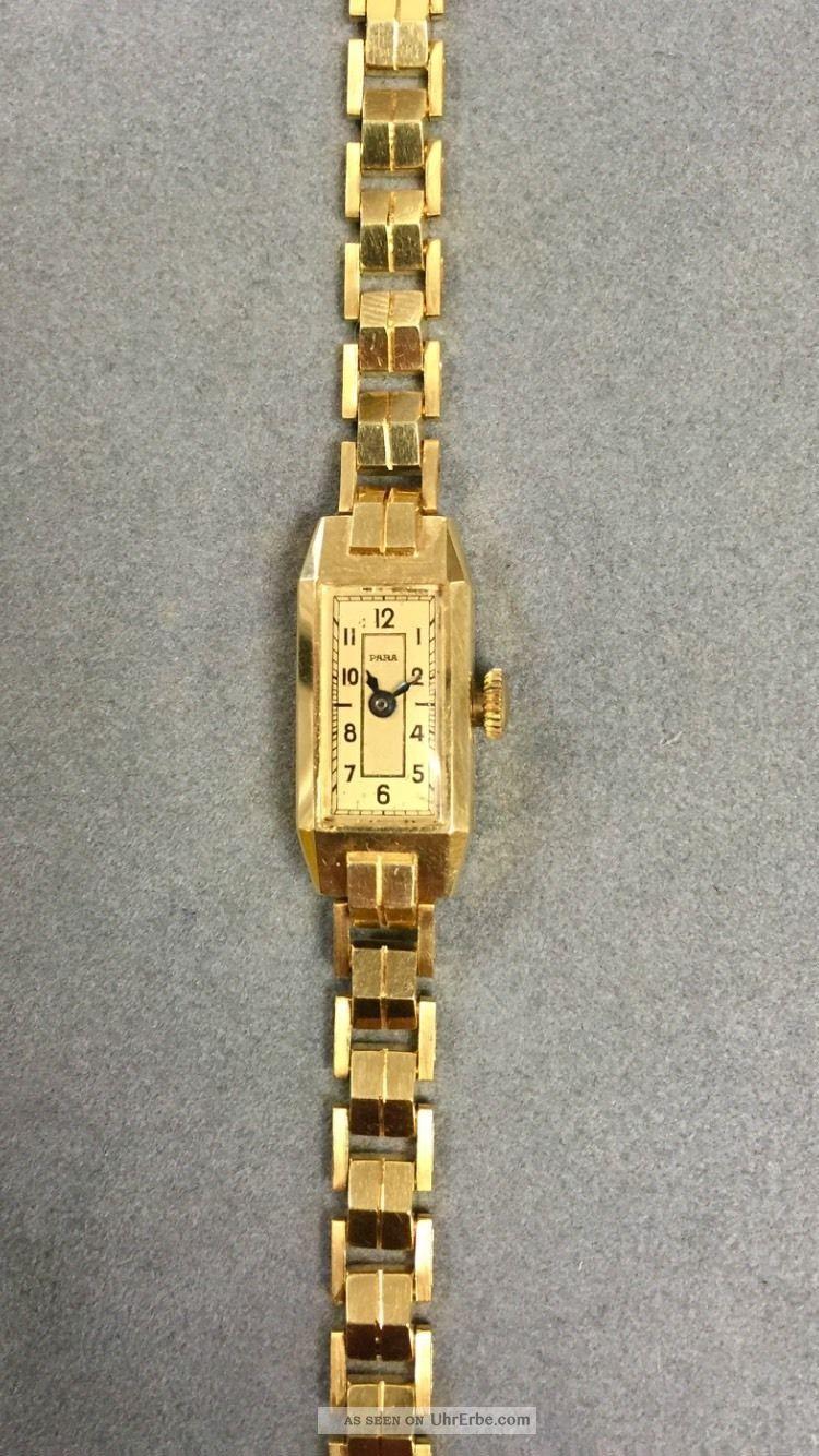 Golduhr 14kt Handaufzug 585er Gelbgold Armbanduhren Bild