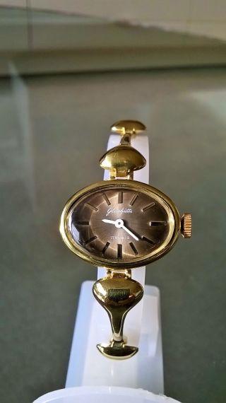 Allerfeinste Vergoldete Orig.  Glashütte Damen Armbanduhr Mit Etui,  Top Bild