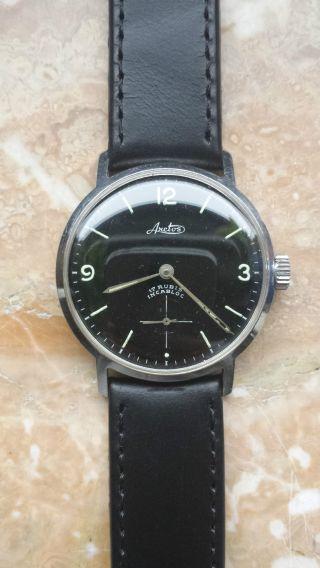 Arctos Armbanduhr Handaufzug Schwarzes Lederband Bild