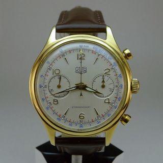 Gub/glashütte Chronograph.  17 Rubis.  Kaliber 64.  Hochwertiger Klassiker Bild