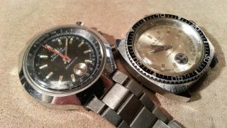 2 Vintage Ruhla Taucheruhr Chronograph Diver Made In Ddr Fuer Bastler Bild