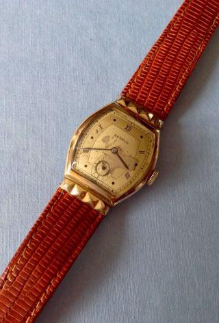 40er Jahre Benrus Herrenuhr Vintage Art Deco Curvex Watch Bild