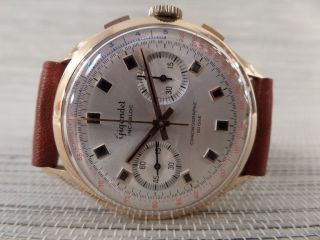 Gigandet 18k 750 Gold Chronograph Alte Armbanduhr Old Mens Wrist Watch Antique Bild