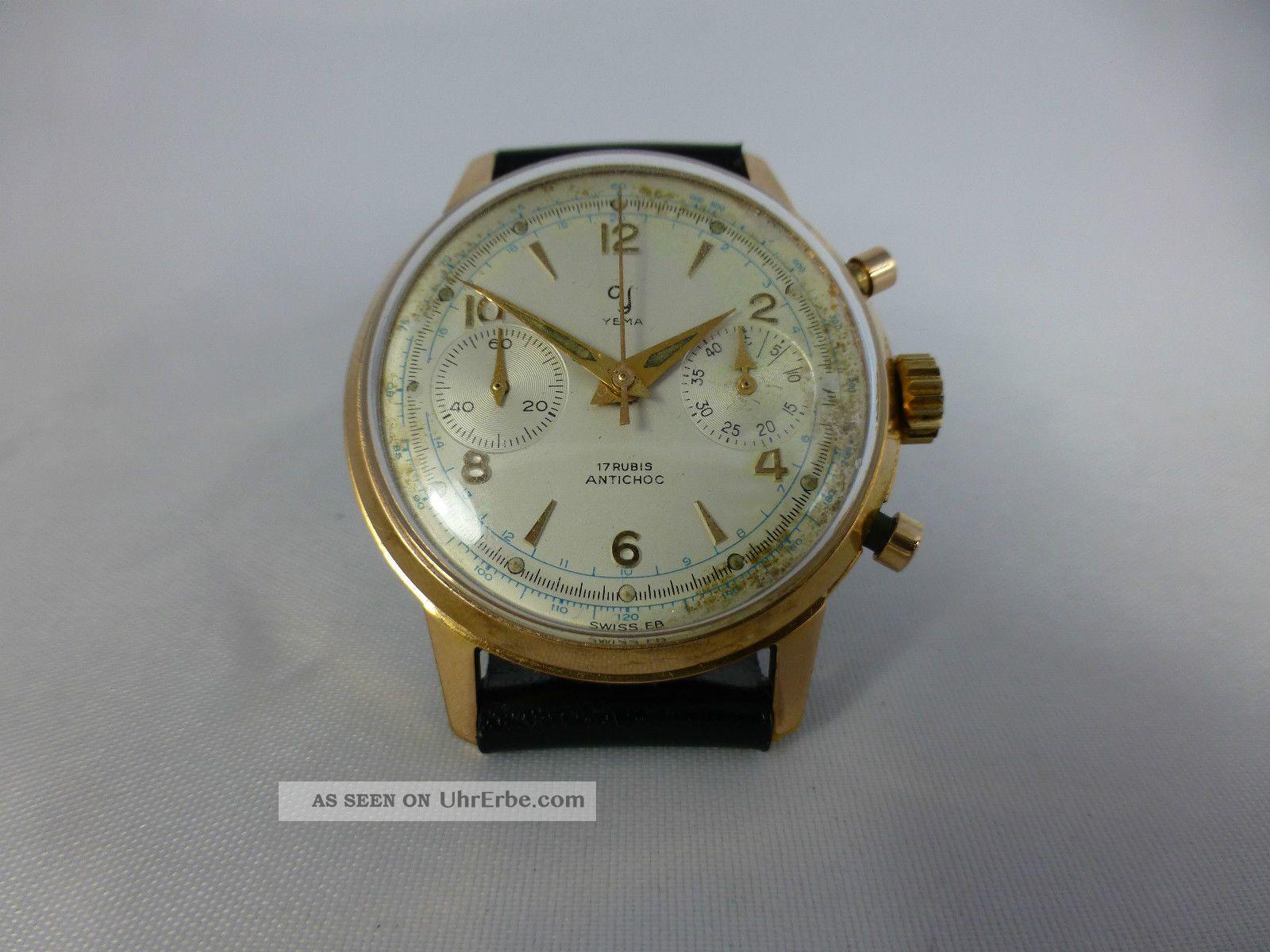 Yema Schaltradchronograph Valjoux 92,  Vergold.  Geh. ,  Handaufzug,  Vintage 1920 - 70 Armbanduhren Bild