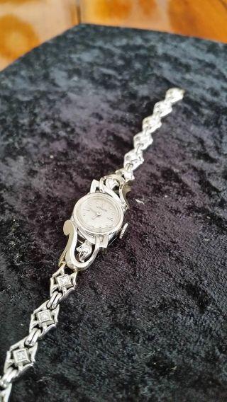 Orig.  Le Coultre Damenarmbanduhr 14kt Weißgold Mit 13 Brillianten - Cal.  490/bw Bild