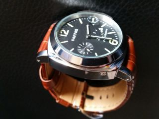 Parnis Uhr 44mm Datum Power Reserve Automatik Handaufzug Gangreseve Bild