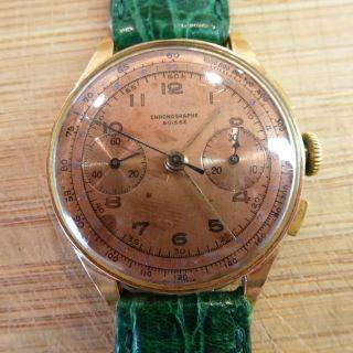Chronographe Suisse Herrenuhr Handaufzug Aus 750er Gold/18 Karat Gelbgold Bild