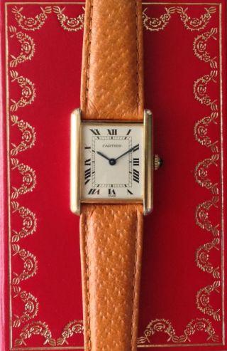 Cartier Paris Vintage Tank Handaufzug Herren Komplett Box Papiere Bild
