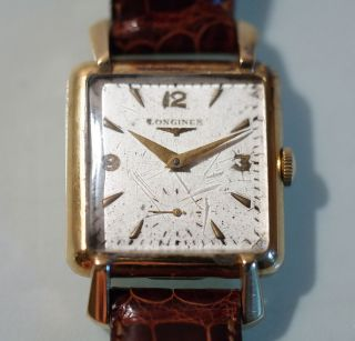 Longines Armbanduhr Antik Herren Damen Gelbgold 18k Wohl 40er Jahre Lederarmband Bild