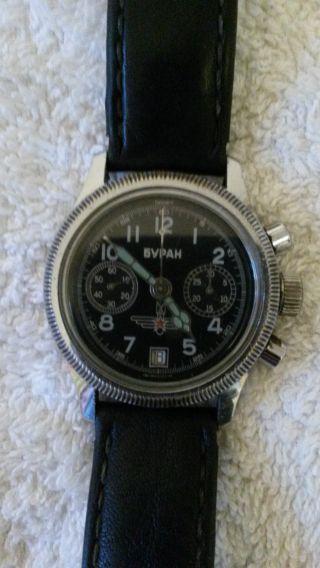 Chronograph Von Poljot Buran Getragen Kaliber 3133 Chrom/edelstahl 1984 - 1990 Bild
