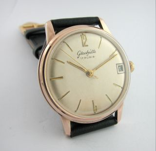 Glashutte 17 Rubis.  Gold Plated.  Cal.  69.  1.  Date.  Check It Bild