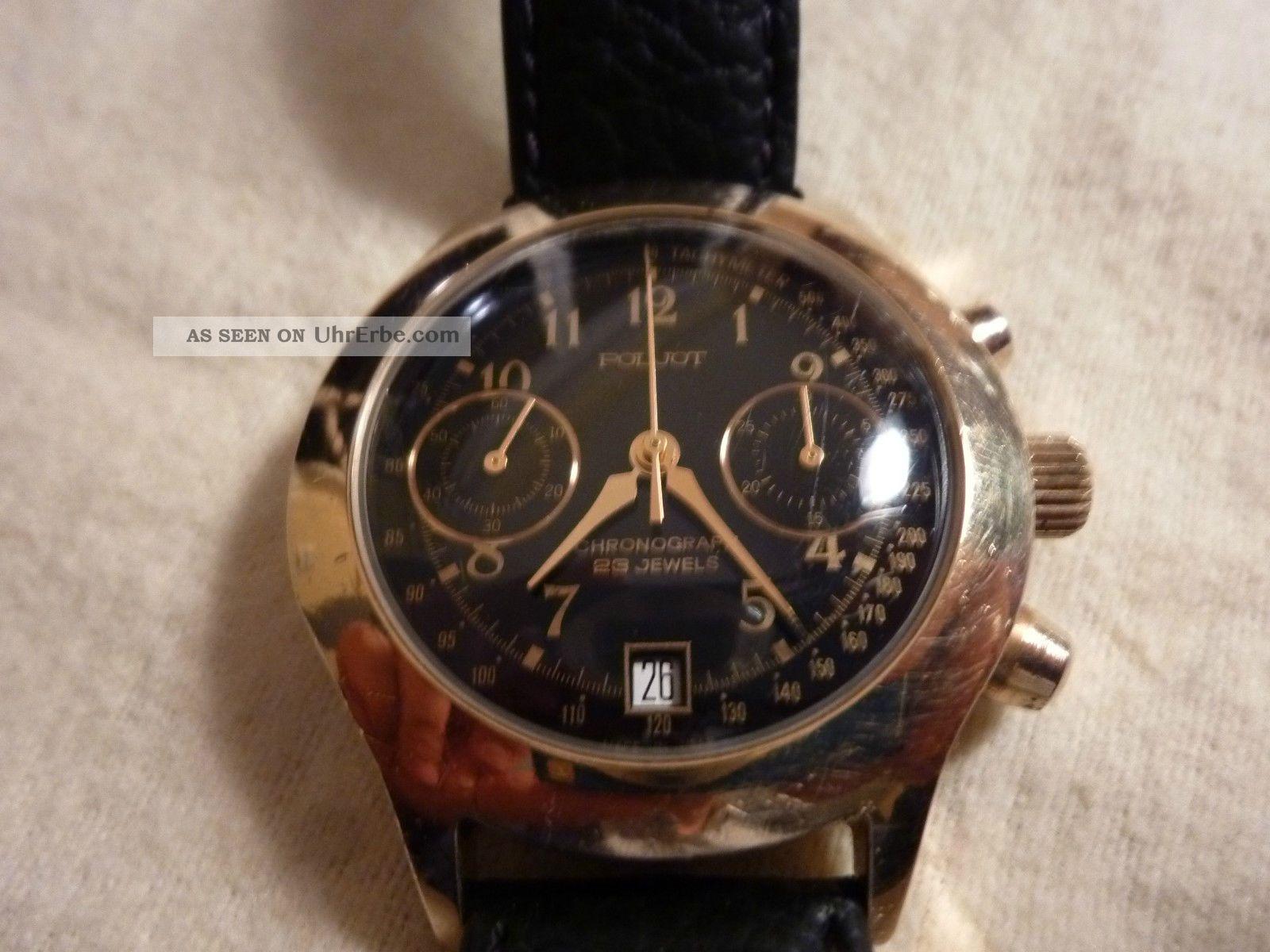 Poljot Handaufzugschronograph,  Schwarzes Zifferblatt,  Vergoldet. Armbanduhren Bild