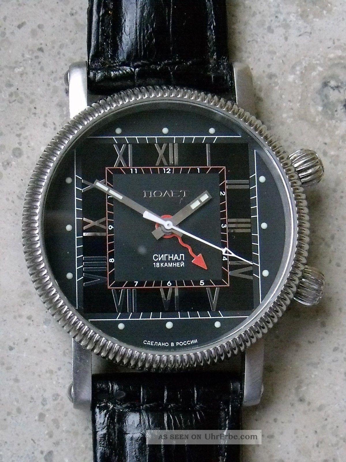 Poljot Design Handaufzugsuhr Mit Mechanischem Wecker Armbanduhren Bild