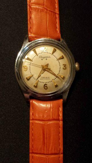 Dugena Armbanduhr Handaufzug Vintage 60er Jahre Lederband Bild