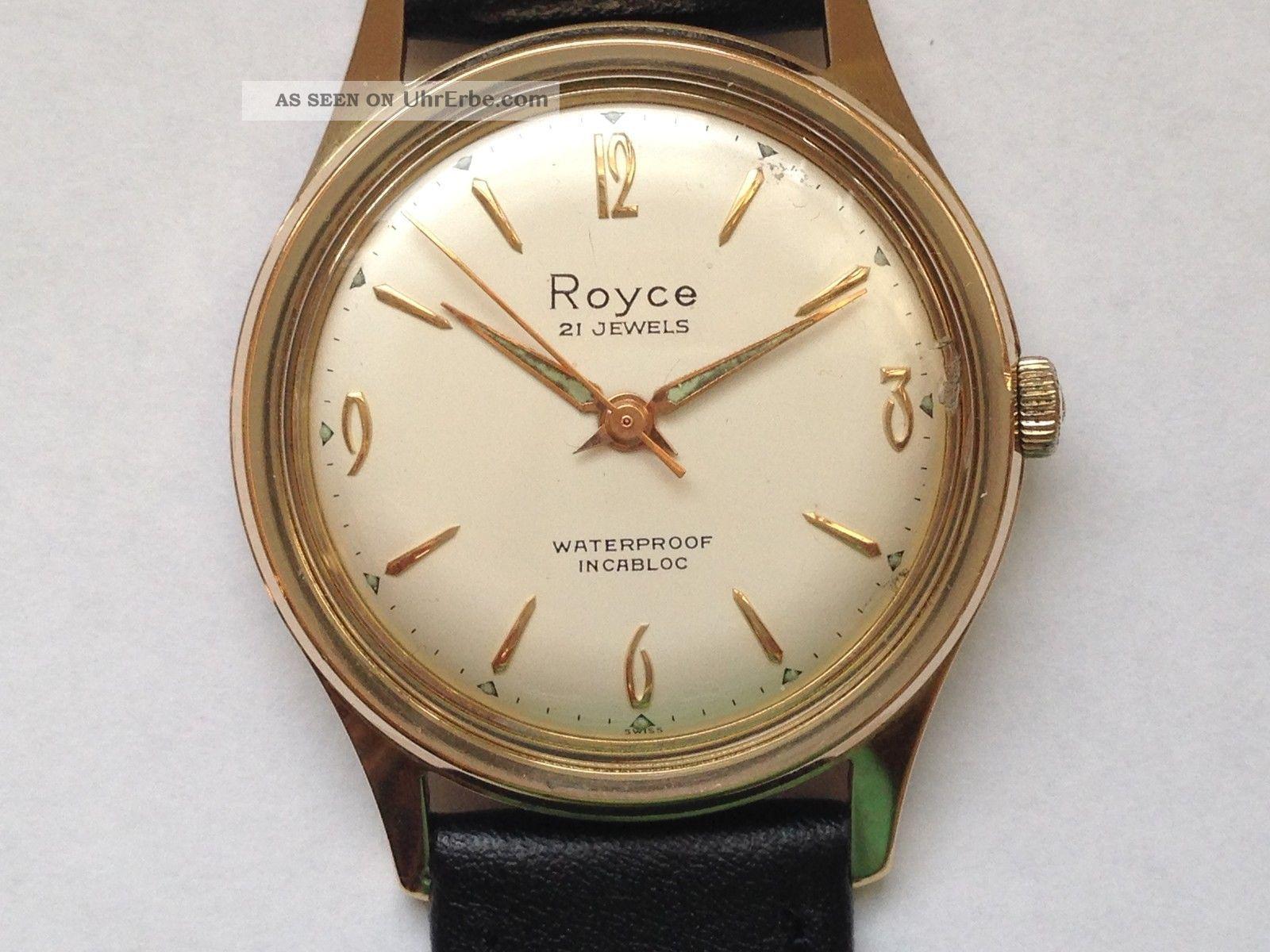 Royce - Swiss Vergoldet Herren Uhr - Handaufzug Armbanduhren Bild