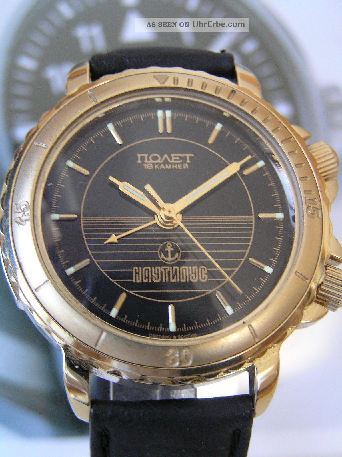 Seltener Russischer Poljot Nautilus Armbandwecker - Poljot Wrist Alarm Armbanduhren Bild