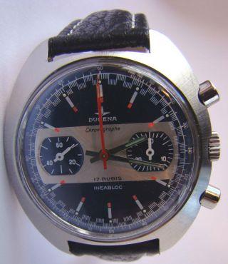 Dugena Uhr Racing Chronograph Valjoux 7733 Aus Den 70er Bild