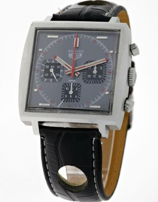 Rare Heuer Monaco 73633g Three Register Chronograph Valjoux 7736 Grey Dial 70ies Bild