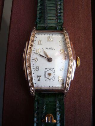 Armbanduhr Benrus Handaufzug 10 Karat Vergoldet–band Smaragdgrün Maurice Lacroix Bild