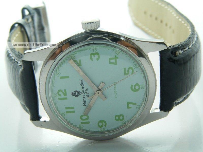 Henri Sandoz & Fils Armbanduhr Handaufzug Mechanisch Vintage Sammleruhr 121 Armbanduhren Bild