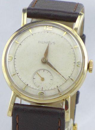 Benrus 585er Gold Armbanduhr Vintage Class Mechanisch Handaufzug Bild