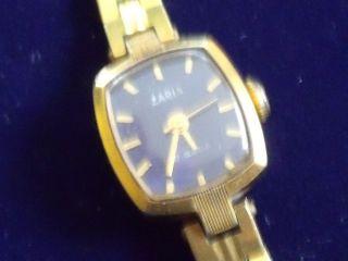 Russische Goldene Damenuhr Zaria Handaufzug Mit Punze 17 Juwels Bild