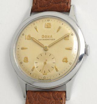 Doxa Antike Schweizer Armbanduhr: 60 Jahre Alt.  Swiss Made Vintage Watch.  1954. Bild