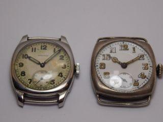 2 Antike Herren Armband Uhren Longines Und Adolph Schild Schöner Orig. Bild