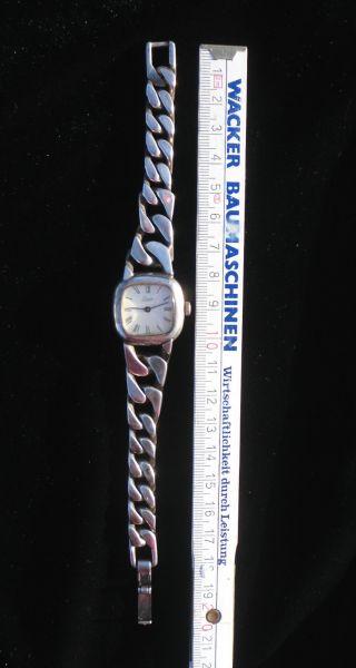 Vintage Quinn Damenuhr 925er Silber Panzerband 60er Jahre Design 74g Armbanduhr Bild
