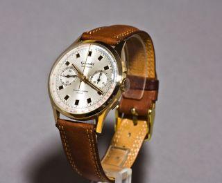 Gigandet Chronograph 18k/0.  750 Rotgold Valjoux 7733 Swiss Edel U.  Rar,  Ca.  1969 Bild