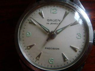 Vintage Gruen 19 Jewels Precision Handaufzug 34 Mm Bild
