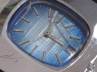 Gamundia Herren - Armbanduhr Mech.  17 Rubis Blau Datum 70er Jahre Kal.  Fe 140 - 1 Bild