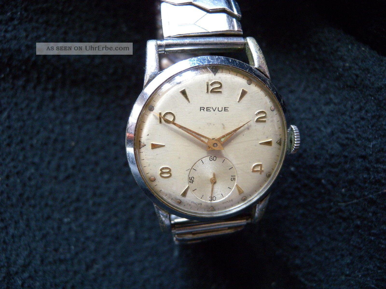 Revue Uhr Vintage Revue Watch 50s Handaufzug Breguet Hairspring Cal.  59 Armbanduhren Bild