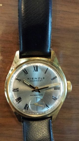 Uhr Armbanduhr Alte Kienzle Markant Mechanisch Handaufzug Bild