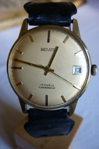 Herrenuhr Provita 17 Jewels Mechanisch Handaufzug Uhr Armbanduhr Bild
