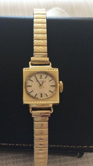 585 Er Gold Uhr Armbanduhr Zentra 17 Jewels Damenuhr Eckig Bild