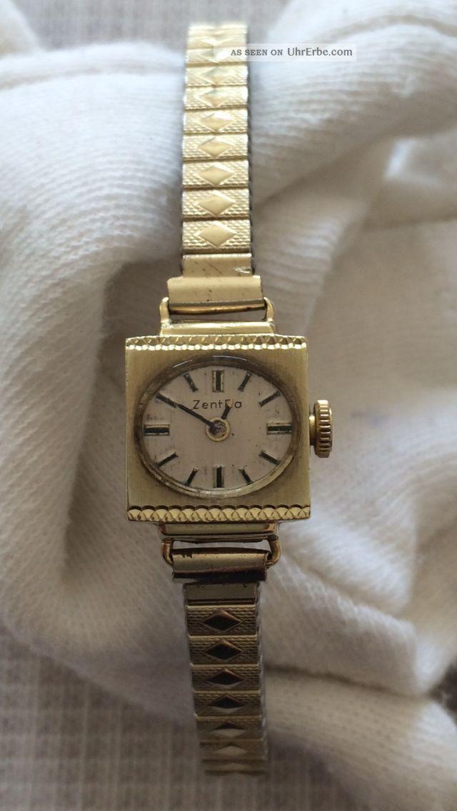 585 Er Gold Uhr Armbanduhr Zentra 17 Jewels Damenuhr Eckig