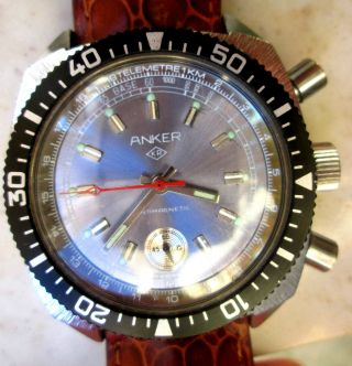 Ruhla Chronograph Anker Export Modell Armbanduhr Drehbare Lünette Handaufzug Bild