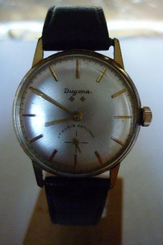 Herrenuhr Dugena 17 Rubis Mechanisch Handaufzug Uhr Armbanduhr Bild