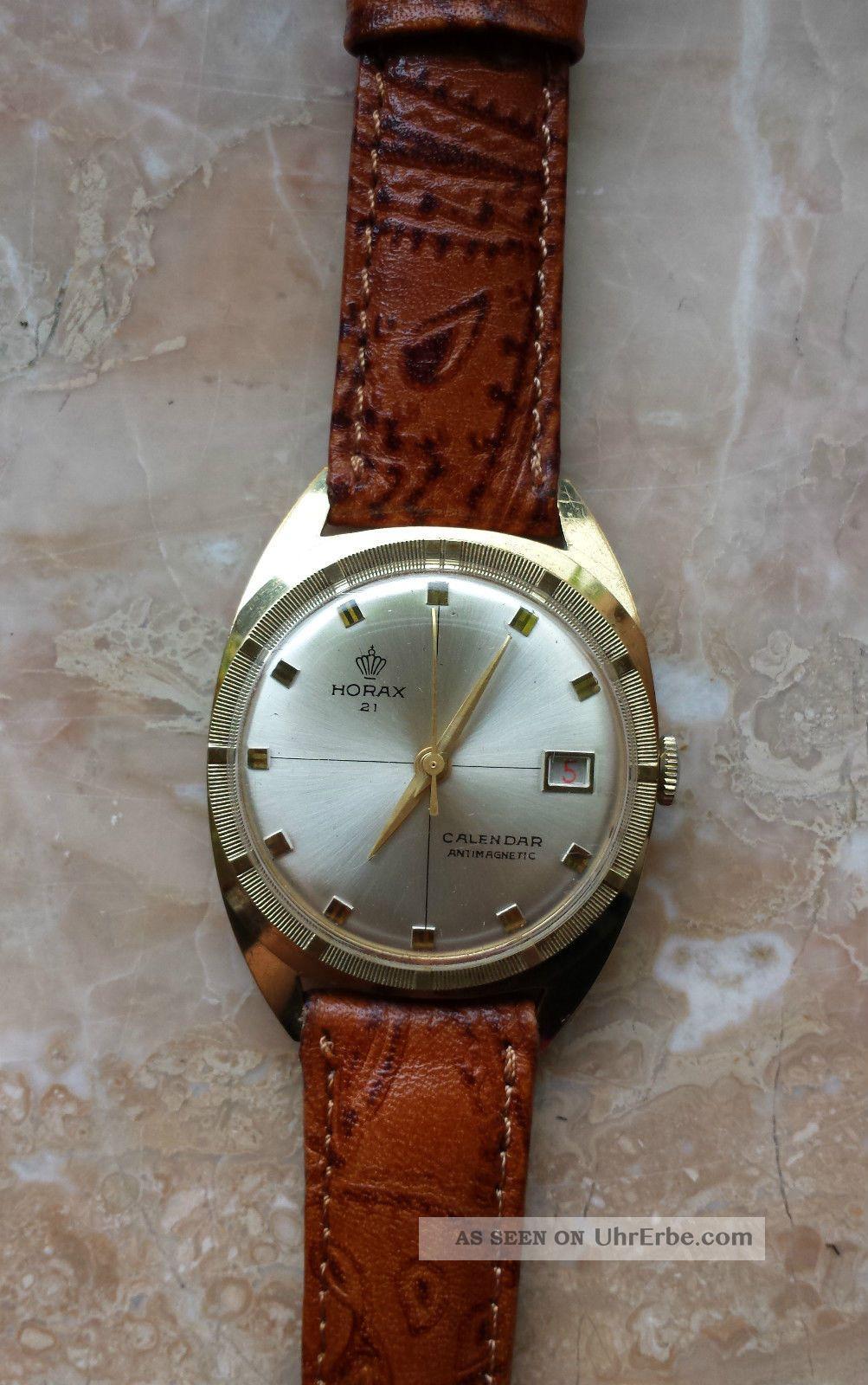 Horax Armbanduhr Handaufzug Goldfarbig Lederband Braun Armbanduhren Bild