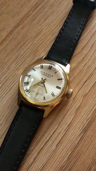 Kienzle Armbanduhr Handaufzug Goldfarben Lederband Schwarz Vintage Bild