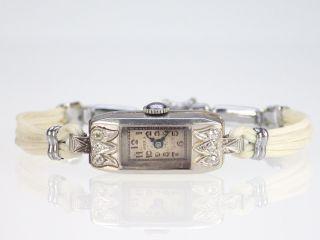 Art Deco Damen Platin Armbanduhr Mit Diamanten Doxa Bild