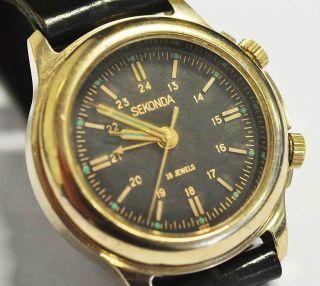 Vintage Poljot Sekonda Armbandwecker Alarm Watch - Handaufzug Läuft Bild