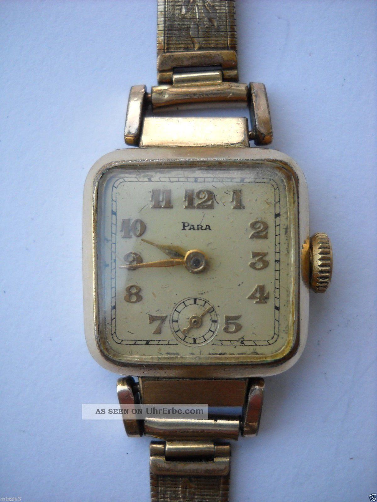 Para,  Damen,  Armbanduhr,  Handaufzug,  Vergoldet,  Kaliber 810 (urofa 522),  30er Jahre Armbanduhren Bild